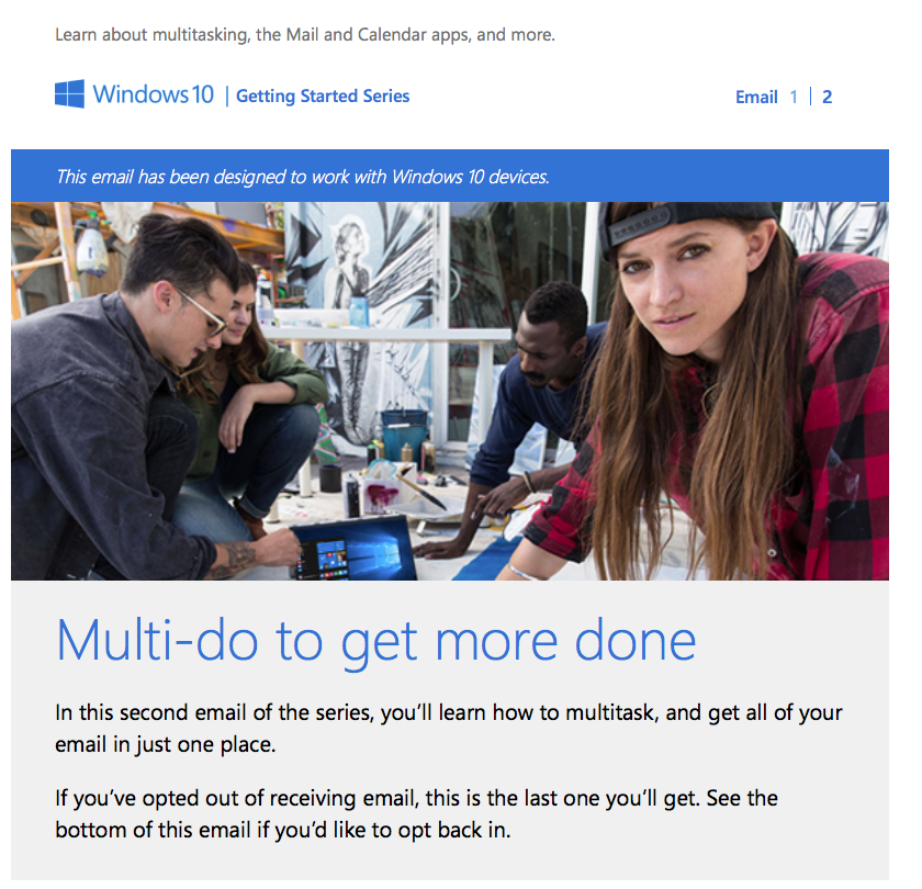 "Getting Started with Windows 10 -- Microsoft's ""Welcome to Windows 10"" email"